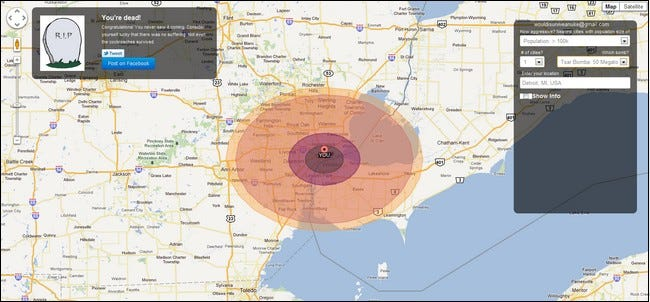 WouldISurviveANuke Assesses Your Distance From Nuclear War Strike - Map your distance