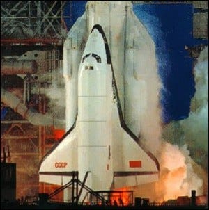 Photo of the only launch of the Buran space shuttle