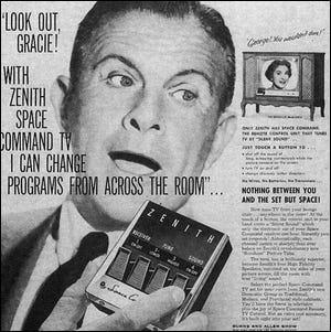 Old Zenith Ad Depicting First Wireless TV Remote