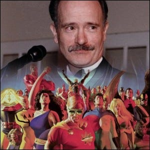 A composite image of Mark Gruenwald and the cover of Squadron Supreme