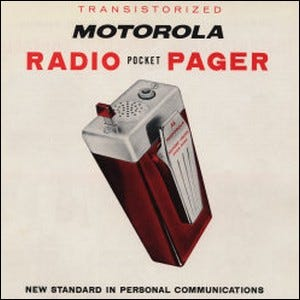 An early advertisement for the first radio pagers made by Motorola