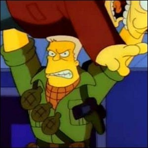 Simpsons Action Star McBain in a fight scene