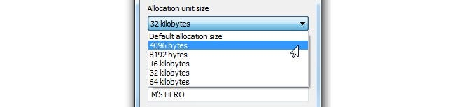 What Should I Set the Allocation Unit Size to When Formatting?