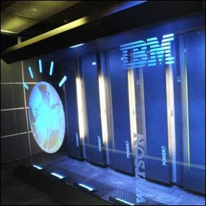 The Watson super computer, behind glass at IBM's headquarters