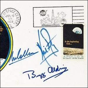"Example of the ""insurance covers"" signed by the Apollo astronauts"