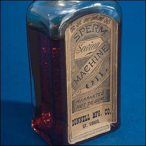 19th century bottle of sperm machine oil