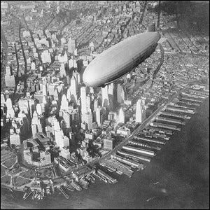 The USS Akron over Manhattan in the early 1930s