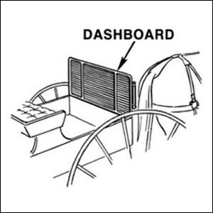 Black and white drawing of a carriage's dashboard