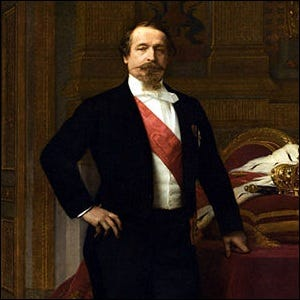 A portrait of Napoleon wearing a white tie tuxedo and sash