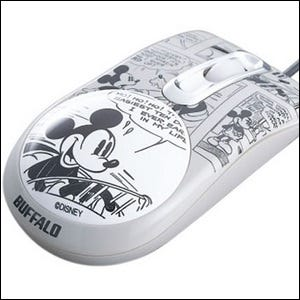 An optical mouse with actual Mickey Mouse artwork on it
