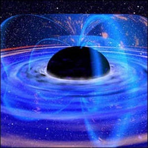 An artist's rendering of the radiation emitted by a black hole