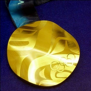 A gold Olympic medal