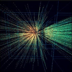 Computer simulation of the collision patterns of atomic particles in an accelerator