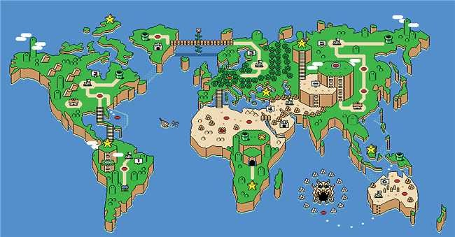 Super Mario Earth The Perfect World Map for Your Collection Fun – Erth Map