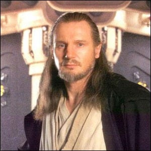 Liam Neeson on the set of Star Wars