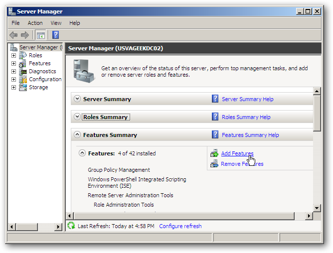 Win server 2008 r2: how to enable the disk cleanup utility.